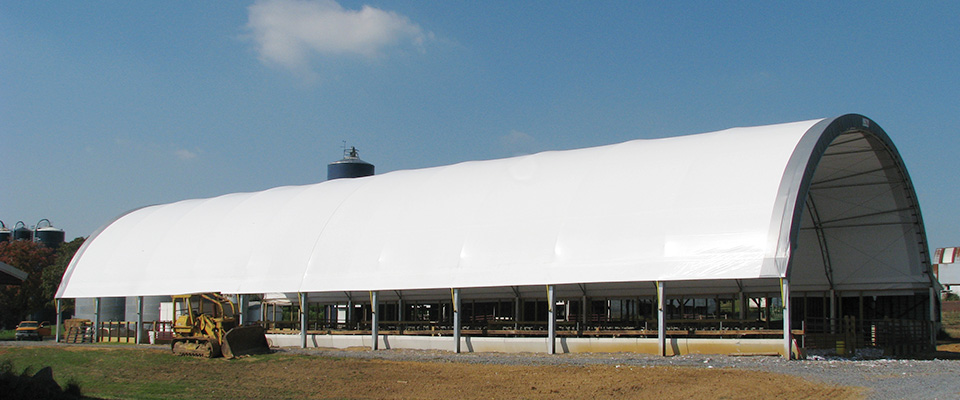 Fabric cattle building