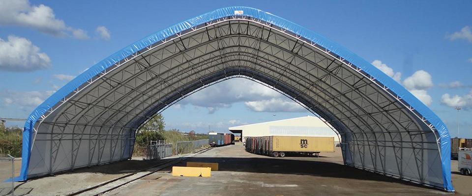 Fabric equipment storage building
