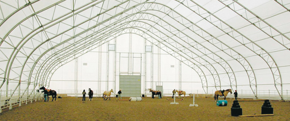 Fabric riding arenas