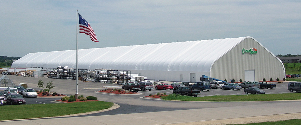 Clearspan fabric structures how it s made clearspan for Clear span garages