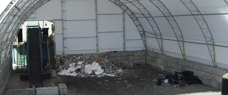 Fabric recycling building