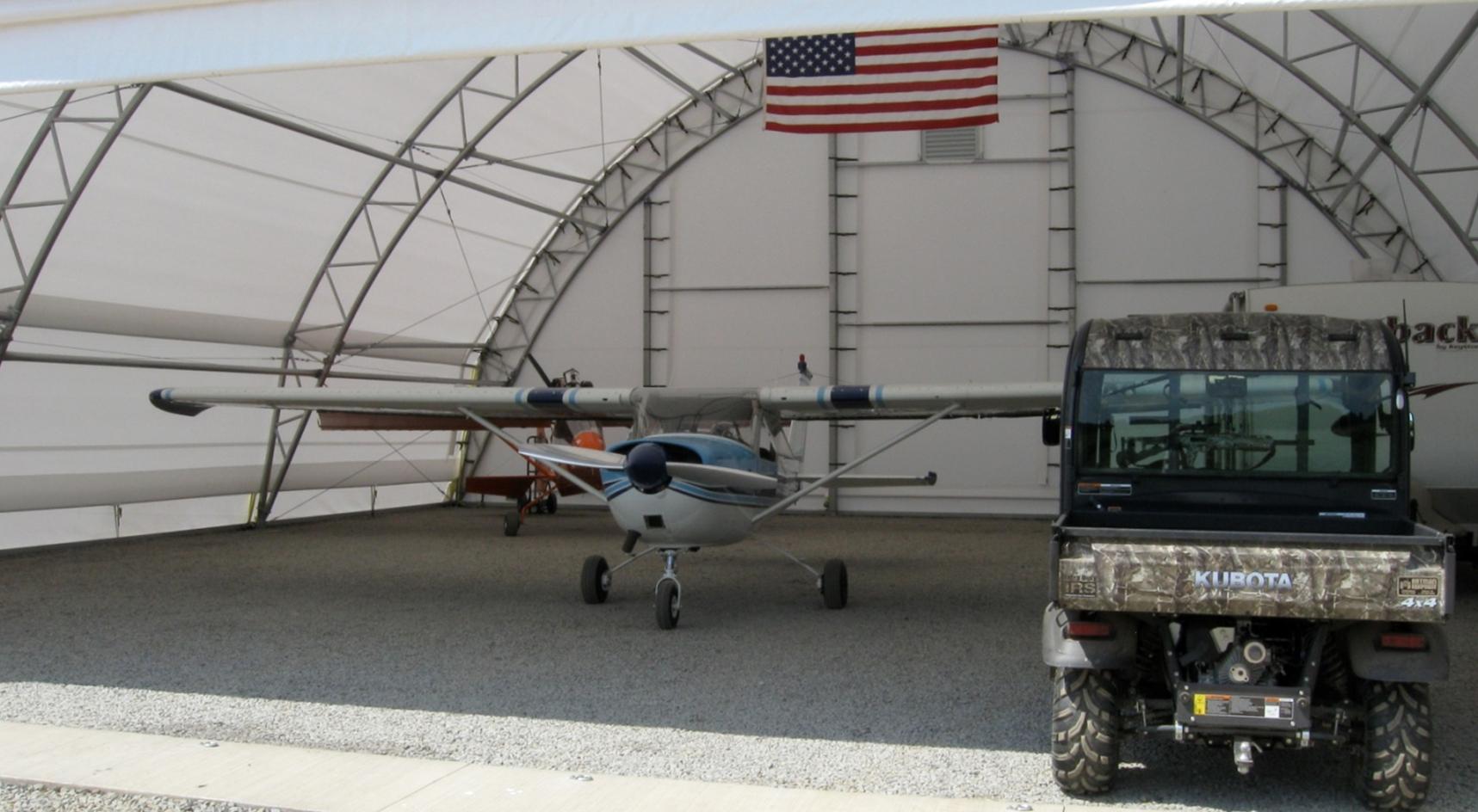 Aviation Storage for John Tevelonis American Flag hung inside