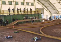 Indoor RC Racing Track under a fabric structure with open side walls