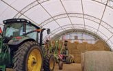 Hay Storage with green tractors