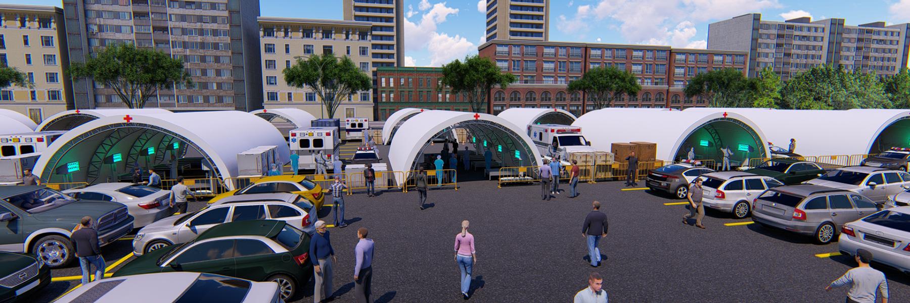 Hospital Buildings 3d Rendering