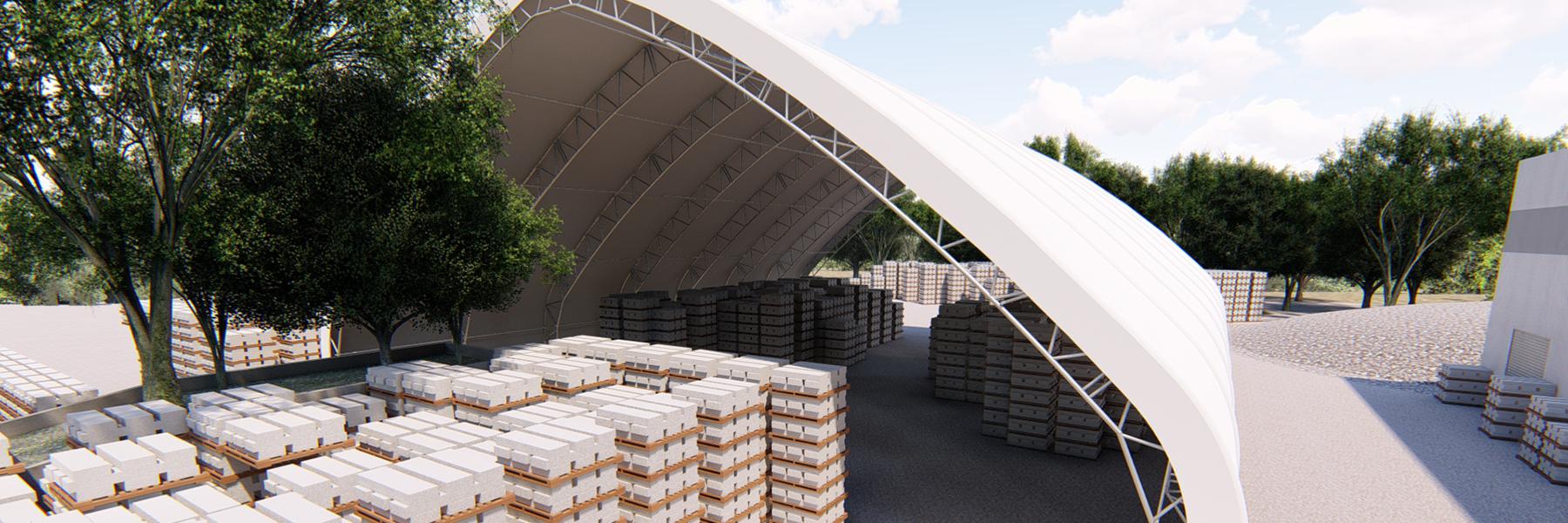 Warehouse Storage Building 3D Rendering