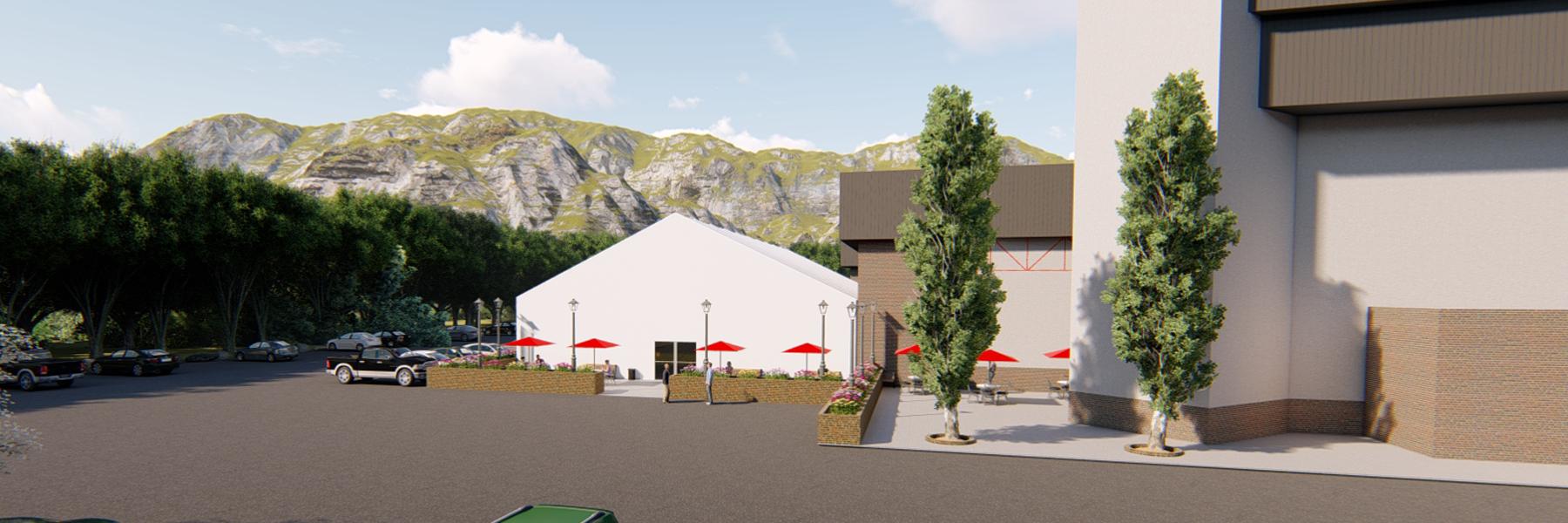 Outdoor Lunch Building for Social Distancing 3D Rendering